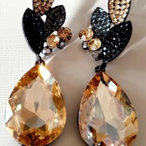 Black and light topaz paved rhinestone earrings